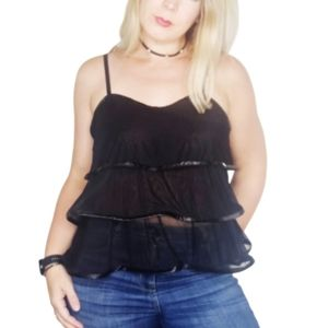 Necessary Evil LUCINA LAYERED MESH LEATHERETTE top